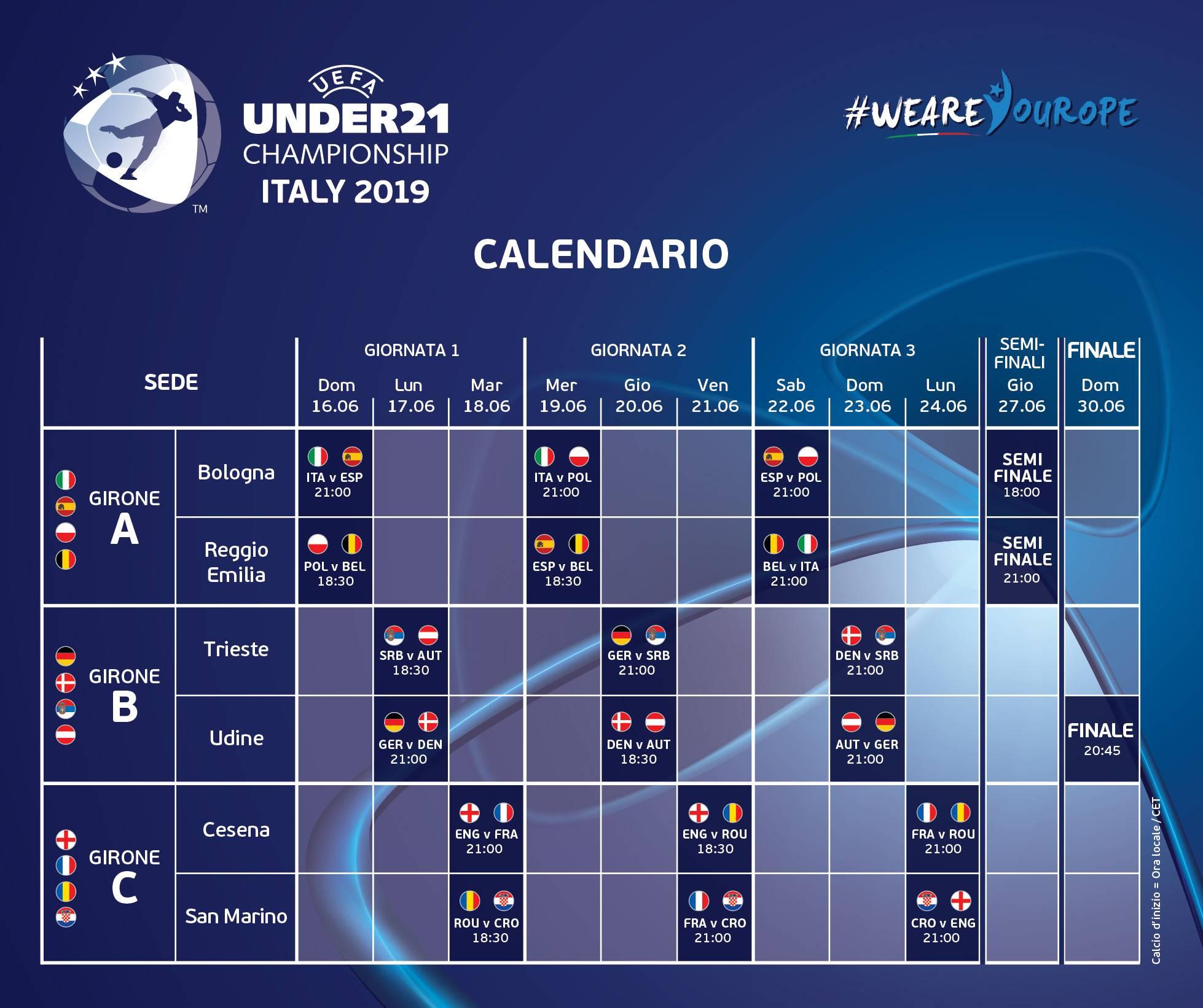 Calendario U21.100 Giorni A Italia E San Marino 2019